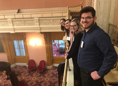 Nate Binni, Rachael Essex, Lorene Kelley, and Zoey Stenson pictured in the lobby of the Ohio Statehouse
